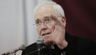 In this Nov. 5, 2018, file photo, Bishop Richard Malone of Buffalo, speaks during a news conference in Cheektowaga, N.Y. Pope Francis on Wednesday, Dec. 2, 2019, accepted Bishop Richard Malone's resignation following widespread criticism over how he handled allegations of clergy sexual misconduct. (AP Photo/Frank Franklin II)