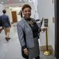 Rep. Barbara Lee, California Democrat, is shown in this file photo from Nov. 27, 2018. Ms. Lee is among 29 progressive House Democrats who are calling for cutbacks in defense spending to free up more money for the fight against the coronavirus. (Associated Press) **FILE**