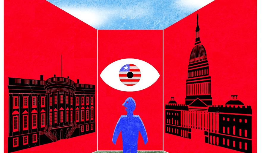 Illustration on the united nature of the Executive and Legislative branches of government by Alexander Hunter/The Washington Times