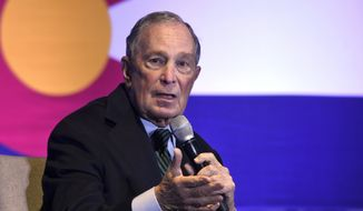 Democratic presidential candidate Michael Bloomberg speaks to gun control advocates and victims of gun violence in Aurora, Colo., on Thursday, Dec. 5, 2019. The billionaire former New York City mayor unveiled a gun control policy just steps from one of Colorado's worst mass shootings, calling for a ban on all assault weapons.  (AP Photo/Thomas Peipert)