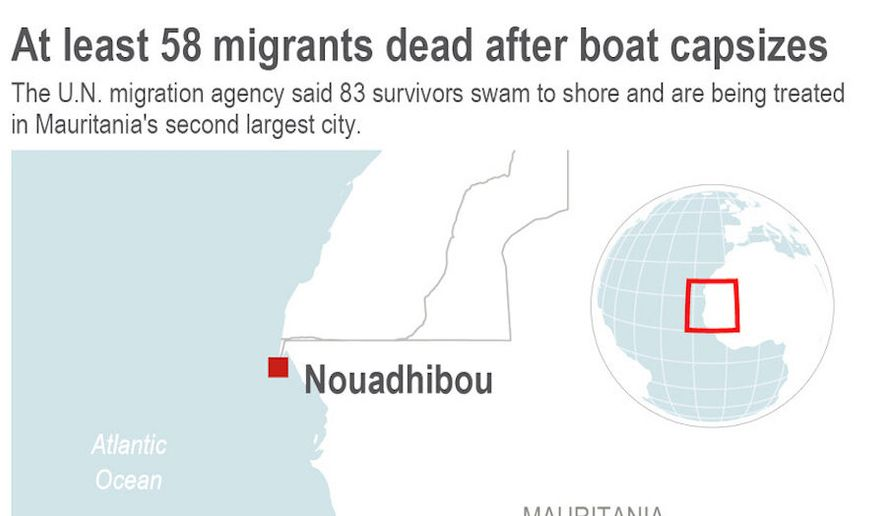 Map shows location of Mauritanian city where survivors of a capsized boat are being treated. (Associated Press)