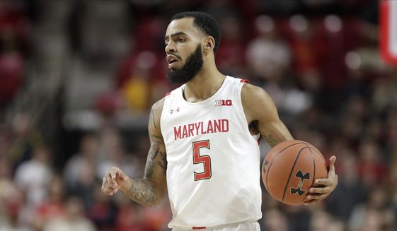 Maryland guard Eric Ayala drives against against Notre Dame during the second half of an NCAA college basketball game, Wednesday, Dec. 4, 2019, in College Park, Md. Maryland won 72-51. (AP Photo/Julio Cortez) ** FILE **