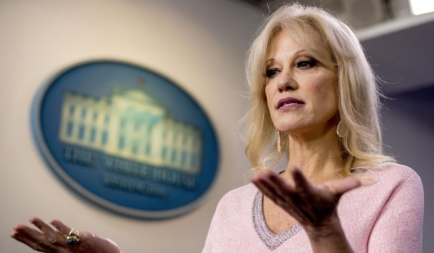 Counselor to the President Kellyanne Conway speaks in the Briefing Room at the White House in Washington, Thursday, Dec. 5, 2019. (AP Photo/Andrew Harnik)