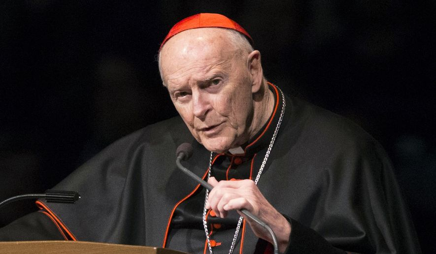 """In this March 4, 2015, file photo, then-Cardinal Theodore McCarrick speaks during a memorial service in South Bend, Ind. James Grein alleged Thursday. A new lawsuit filed in a New Jersey court accuses McCarrick of managing a """"sex cabal"""" among seminarians, altar boys and priests at a New Jersey beach house in the 1980s. (Robert Franklin/South Bend Tribune via AP, Pool, File)  **FILE**"""