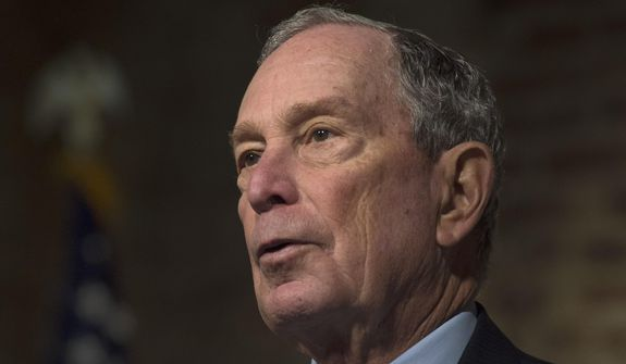 Democratic presidential candidate and former New York City Mayor Michael Bloomberg participates in a roundtable on criminal justice reform led by Jackson, Miss., Mayor Chokwe Antar Lumumba at Smith Robertson Museum, Tuesday, Dec. 2, 2019, in Jackson, Miss. (Sarah Warnock/The Clarion-Ledger via AP)