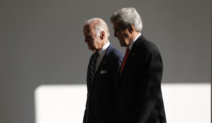 Former Secretary of State John Kerry (right) will join former Vice President Joseph R. Biden on the campaign trail in the coming days after endorsing him for president on Thursday. (Associated Press photograph)
