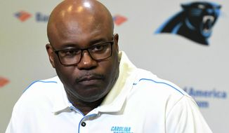 Carolina Panthers' Perry Fewell is shown  during his first press conference as the NFL football team's interim head coach, at Bank of America Stadium in Charlotte, N.C., Wednesday, Dec. 4, 2019. Ron Rivera was fired as head coach on Tuesday. (David T. Foster III/The Charlotte Observer via AP)
