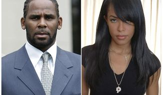 FILE - This combination photo shows singer R. Kelly after the first day of jury selection in his child pornography trial at the Cook County Criminal Courthouse in Chicago on May 9, 2008, left, the late R&B singer and actress Aaliyah during a photo shoot in New York on May 9, 2001. Federal prosecutors are accusing singer R. Kelly of scheming with others to pay for a fake ID for an unnamed female a day before he married R&B singer Aaliyah, then 15 years old, in a secret ceremony in 1994 according to a revised indictment filed Thursday, Dec. 5, 2019.  (AP Photo/File)