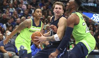 Dallas Mavericks forward Luka Doncic (77) tries to get past Minnesota Timberwolves guard Josh Okogie (20) for a shot in the second quarter of an NBA basketball game Wednesday, Dec. 4, 2019, in Dallas. (AP Photo/Richard W. Rodriguez)