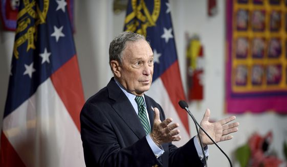 Democratic presidential candidate and former New York Mayor Michael Bloomberg speaks during a press conference at the Lucy Craft Laney Museum in Augusta, Ga., Friday, Dec. 6, 2019. (Michael Holahan/The Augusta Chronicle via AP)