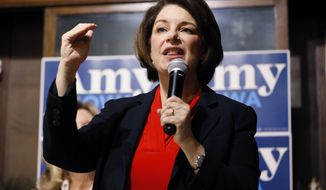 Democratic presidential candidate Sen. Amy Klobuchar, D-Minn., speaks during a stop at the Corner Sundry, Friday, Dec. 6, 2019, in Indianola, Iowa. (AP Photo/Charlie Neibergall)