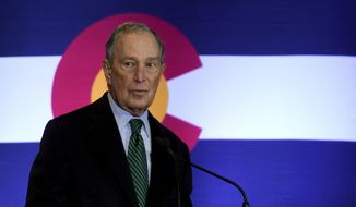Democratic presidential contender Michael Bloomberg speaks to gun control advocates and victims of gun violence in Aurora, Colo., on Thursday, Dec. 5, 2019. The billionaire former New York City mayor unveiled a gun control policy just steps from one of Colorado's worst mass shootings, calling for a ban on all assault weapons.  (AP Photo/Thomas Peipert)