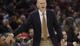 Cleveland Cavaliers head coach John Beilein reacts in the first half of an NBA basketball game against the Orlando Magic, Friday, Dec. 6, 2019, in Cleveland. (AP Photo/Tony Dejak)