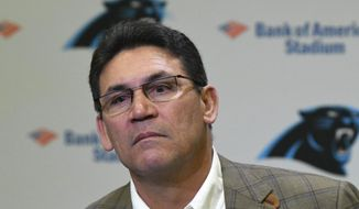 Former Carolina Panthers NFL football head coach Ron Rivera ponders a question during a press conference at Bank of America Stadium in Charlotte, N.C., Wednesday, Dec. 4, 2019. Rivera was fired as coach on Tuesday. (David T. Foster III/The Charlotte Observer via AP) **FILE**