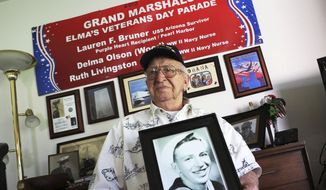 In this Nov. 17, 2016, file photo, Lauren Bruner, a survivor of the USS Arizona which was attacked on Dec. 7, 1941, holds with a 1940 photo of himself at his home in La Mirada, Calif. Divers will place the ashes of Bruner in the wreckage of his ship during a ceremony this weekend in Pearl Harbor, Hawaii.   Bruner died earlier in 2019 at the age of 98. (AP Photo/Reed Saxon, File)