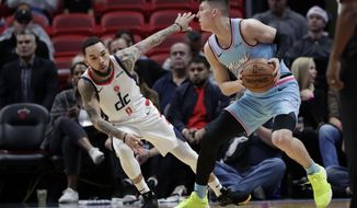 Miami Heat guard Tyler Herro, right, prepares to shoot as Washington Wizards guard Chris Chiozza (9) defends during the first half of an NBA basketball game, Friday, Dec. 6, 2019, in Miami. (AP Photo/Lynne Sladky)