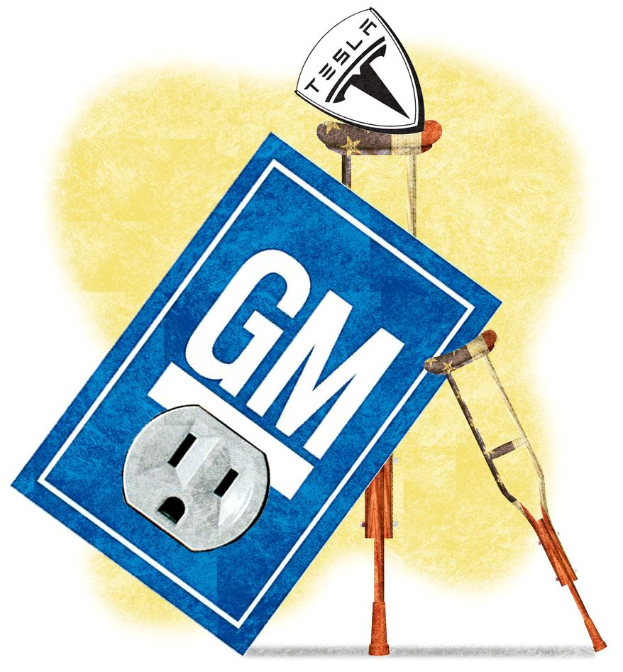 Illustration on government support for Tesla and GM electric by Alexander Hunter/The Washington Times
