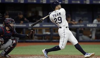 FILE - In this Aug. 31, 2019, file photo, Tampa Bay Rays' Tommy Pham (29) watches his two-run home run off Cleveland Indians starting pitcher Zach Plesac during the third inning of a baseball game in St. Petersburg, Fla. The San Diego Padres have acquired Pham and infielder-pitcher Jake Cronenworth from the Rays for outfielder Hunter Renfroe, minor league infielder Xavier Edwards and a player to be named. (AP Photo/Chris O'Meara, File)