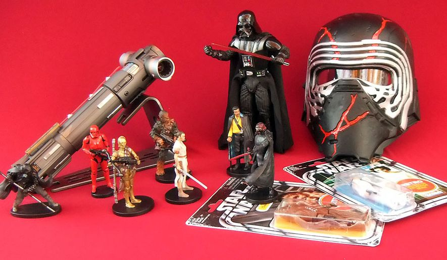 """Gift ideas for """"Star Wars"""" fans include Supreme Leader Kylo Ren Force FX Elite Lightsaber, Hyperreal Darth Vader, """"Star Wars: The Rise of Skywalker"""" Deluxe Figure set, Retro Princess Lei Organa and Kylo Ren Force Rage Mask. (Photograph by Joseph Szadkowski / The Washington Times)"""