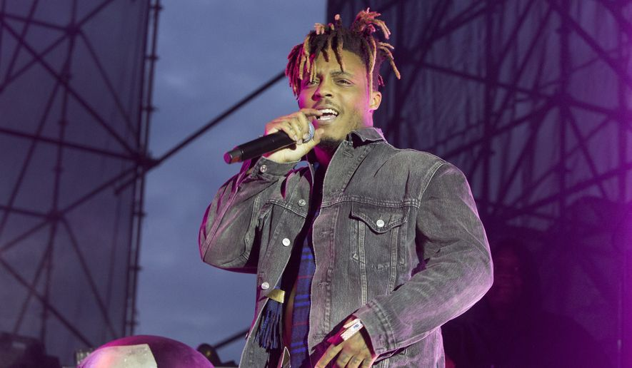 "Juice Wrld performs in concert during his ""Death Race for Love Tour"" at The Skyline Stage at The Mann Center for the Performing Arts on Wednesday, May 15, 2019, in Philadelphia. (Photo by Owen Sweeney/Invision/AP)"