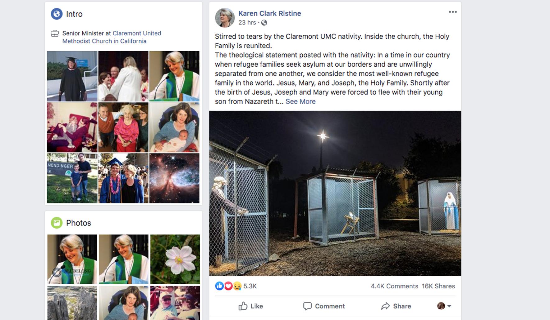 Claremont United Methodist Church Nativity scene attacks border securi