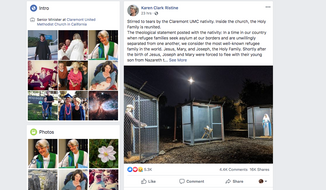 Rev. Karen Clark Ristine, the senior minister at Claremont United Methodist Church, posted photos of her church's Christmas-season display, showing Joseph, Mary and the baby Jesus in three separate cages each topped with barbed wire. (Facebook.com)