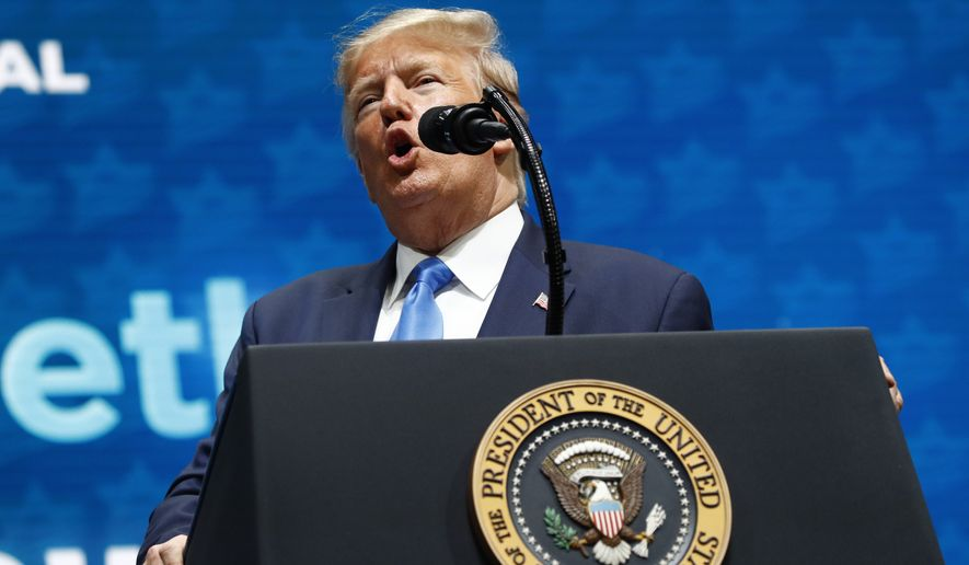 President Donald Trump speaks at the Israeli American Council National Summit in Hollywood, Fla., Saturday, Dec. 7, 2019. (AP Photo/Patrick Semansky)