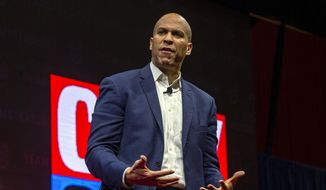 Democratic presidential candidate Sen. Cory Booker, D-N.J., speaks during the Teamsters Presidential Candidate Forum at the Veterans Memorial Coliseum, Saturday, Dec. 7, 2019, in Cedar Rapids, Iowa. (Andy Abeyta/The Gazette via AP) ** FILE **