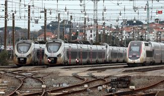 Trains park at the Hendaye train station, southwestern France, Sunday Dec.8, 2019 on the fourth day of nationwide strikes that disrupted weekend travel around France. France's prime minister is holding special meetings Sunday about the government's divisive redesign of the national retirement system, amid warnings that strike-related transport troubles will get even worse in the coming days. (AP Photo/Bob Edme)