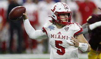 Miami of Ohio quarterback Brett Gabbert throws during the second half of the Mid-American Conference championship NCAA college football game against Central Michigan, Saturday, Dec. 7, 2019, in Detroit. (AP Photo/Carlos Osorio)