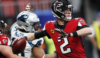Atlanta Falcons quarterback Matt Ryan (2) works in the pocket against the Carolina Panthers during the first half of an NFL football game, Sunday, Dec. 8, 2019, in Atlanta. (AP Photo/John Bazemore)