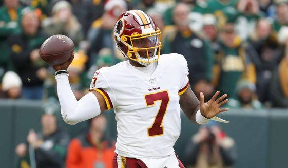 """I couldn't move too much,"" Redskins quarterback Dwayne Haskins said of playing in Sunday's loss with the ankle injury. ""There were times it felt like I could've broken out of the pocket and made a guy miss. But I just kind of sat there."" (Associated Press) ** FILE **"
