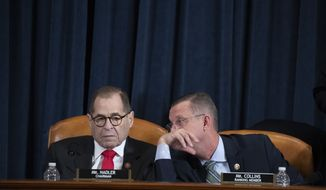 """House Judiciary Committee Chairman Jerrold """"Jerry"""" Nadler (D-NY) and House Judiciary Committee Ranking Member Doug Collins (R-GA) speak to one another during a public impeachment inquiry hearing with the House Judiciary Committee on Capitol Hill in Washington, DC, on December 9th, 2019. (Anna Moneymaker/The New York Times via AP, Pool)"""