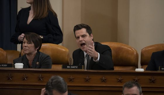 Rep. Matt Gaetz, R-Fla., speaks as the House Judiciary Committee hears investigative findings in the impeachment inquiry of President Donald Trump, Monday, Dec. 9, 2019, on Capitol Hill in Washington. (Anna Moneymaker/Pool via AP)
