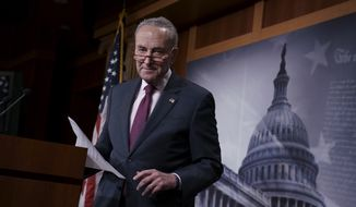 Senate Minority Leader Chuck Schumer, D-N.Y., finishes a news conference about the report by the Justice Department's internal watchdog that concluded the FBI was justified in opening its investigation into ties between the Trump presidential campaign and Russia and did not act with political bias, on Capitol Hill in Washington, Monday, Dec. 9, 2019. (AP Photo/J. Scott Applewhite) ** FILE **