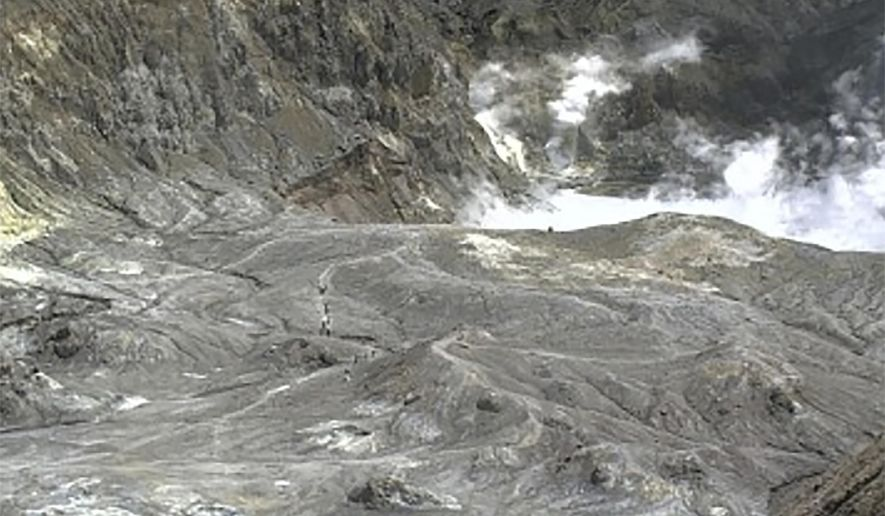 In this image released by GeoNet, tourists can be seen on a trail near the volcano's crater Monday, Dec. 9, 2019, on White Island, New Zealand. Prime Minister Jacinda Ardern says about 100 tourists were on or near White Island when the volcano erupted and some of them are missing. (GeoNet via AP)