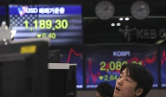 A currency trader watches computer monitors near the screens showing the Korea Composite Stock Price Index (KOSPI), right, and the foreign exchange rate between U.S. dollar and South Korean won at the foreign exchange dealing room in Seoul, South Korea, Tuesday, Dec. 10, 2019. Asian stock markets have fallen as investors look ahead to interest rate decisions by U.S. and European central bankers and possible American tariff hike on Chinese imports. (AP Photo/Lee Jin-man)