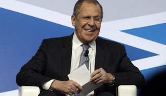 FILE - In this Dec. 6, 2019, photo, Russian Foreign Minister Sergey Lavrov speaks at the Mediterranean Dialogues conference in Rome. President Donald Trump and Secretary of State Mike Pompeo are slated to meet Tuesday with Lavrov to discuss the state of the bilateral relationship.  (AP Photo/Gregorio Borgia)