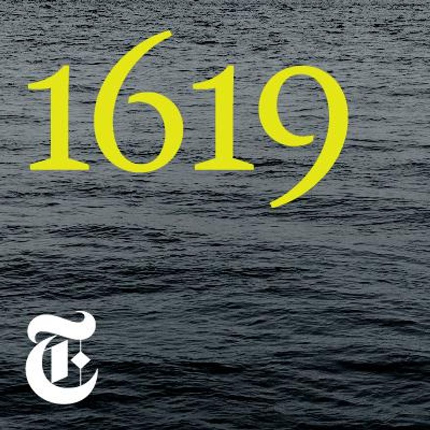 "This image released by The New York Times shows cover art for ""1619,"" named one of the top ten podcasts by the Associated Press. (The New York Times via AP)"