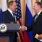 Russian Foreign Minister Sergey Lavrov (left) declared Tuesday that it was difficult to work with Secretary of State Mike Pompeo on anything when the U.S. continues to make allegations of Russian interference in U.S. presidential elections. (ASSOCIATED PRESS)