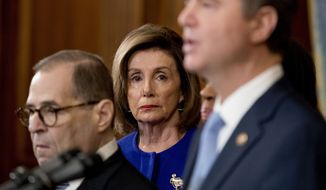 House Speaker Nancy Pelosi of Calif., center, and Chairman of the House Judiciary Committee Jerrold Nadler, D-N.Y., left, listen as Adam Schiff, D-Calif., Chairman of the House Intelligence Committee, foreground, speaks during a news conference to unveil articles of impeachment against President Donald Trump, abuse of power and obstruction of Congress, Tuesday, Dec. 10, 2019, on Capitol Hill in Washington. (AP Photo/Andrew Harnik)