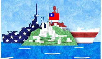 Illustration on relations with Taiwan by Alexander Hunter/The Washington Times