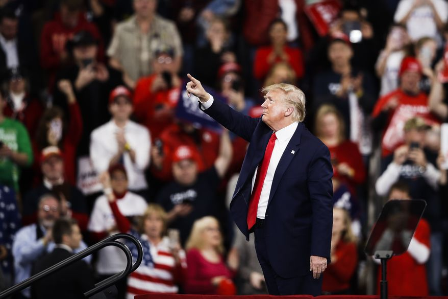 President Donald Trump during a campaign rally in Hershey, Pa., Tuesday, Dec. 10, 2019. (AP Photo/Matt Rourke)