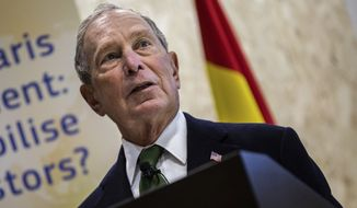 Democratic presidential contender Michael Bloomberg attends a sustainable finance panel at the COP25 summit in Madrid, Tuesday Dec. 10, 2019. (AP Photo/Bernat Armangue)