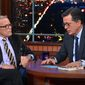 """Tom Brokaw discusses impeachment efforts against President Trump with """"The Late Show"""" host Stephen Colbert, Dec. 9, 2019. (Image: YouTube, """"The Late Show with Stephen Colbert,"""" screenshot)"""