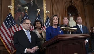 Speaker of the House Nancy Pelosi, D-Calif., joined from left by House Judiciary Committee Chairman Jerrold Nadler, D-N.Y., House Financial Services Committee Chairwoman Maxine Waters, D-Calif., House Ways and Means Committee Chairman Richard Neal, D-Mass., and House Intelligence Committee Chairman Adam Schiff, D-Calif., announces they are pushing ahead with two articles of impeachment against President Donald Trump — abuse of power and obstruction of Congress — charging he corrupted the U.S. election process and endangered national security in his dealings with Ukraine, at the Capitol in Washington, Tuesday, Dec. 10, 2019. (AP Photo/J. Scott Applewhite)