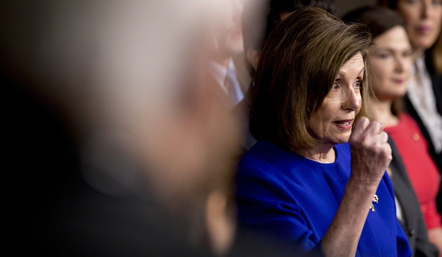 House Speaker Nancy Pelosi of Calif., speaks at a news conference to discuss the United States Mexico Canada Agreement (USMCA) trade agreement, Tuesday, Dec. 10, 2019, on Capitol Hill in Washington. (AP Photo/Andrew Harnik) **FILE**