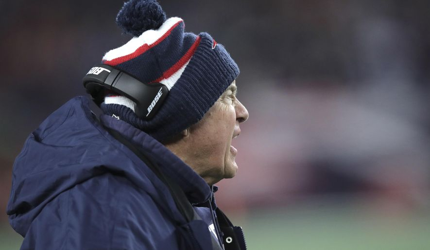 New England Patriots head coach Bill Belichick argues a call in the first half of an NFL football game against the Kansas City Chiefs, Sunday, Dec. 8, 2019, in Foxborough, Mass. (AP Photo/Charles Krupa)
