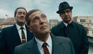 "This image released by Netflix shows, from left, Robert De Niro, Al Pacino and Ray Romano in a scene from ""The Irishman."" On Monday, Dec. 9, 2019, Pacino was nominated for a Golden Globe for best supporting actor in a motion picture for his role in the film.(Netflix via AP)"