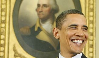 President Barack Obama smiles beneath a portrait of George Washington as reporters enter the Oval Office of the White House before the swearing in of Health and Human Services Secretary Kathleen Sebelius,Tuesday, April 28, 2009, in Washington.(AP Photo/Charles Dharapak)